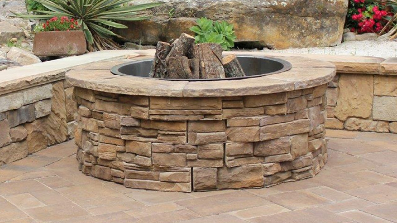 Patio Retaining Wall Outdoor Fire Pit The Order Of Things Heritage Block Retaining Wall Block